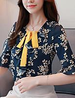 Недорогие -Жен. Бант / Жаккард / С принтом Блуза Деловые / Классический Цветочный принт / Геометрический принт