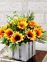baratos -Flores artificiais 1 Ramo Clássico Estiloso Girassóis Flor de Mesa