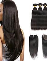 billiga -Indiskt hår Rak Human Hår vävar / Förlängare / En Pack Lösning 3 paket med stängning 8-22 tum Hårförlängning av äkta hår 4x4 Stängning Klassisk / Bästa kvalitet / Säkerhet Naturlig Naurlig färg