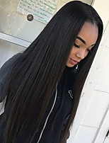 cheap -Remy Human Hair Lace Front Wig Brazilian Hair Silky Straight Wig Middle Part 130% Natural Hairline Black Women's Mid Length Human Hair Lace Wig