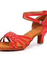 abordables -Mujer Zapatos de Baile Latino Satén Zapatilla Tacón Cubano Personalizables Zapatos de baile Rojo
