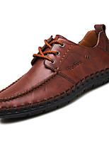 Недорогие -Муж. Мокасины Кожа Лето Туфли на шнуровке Черный / Темно-русый / Темно-коричневый