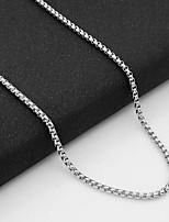 Недорогие -Муж. Одинарная цепочка Ожерелья-цепочки - Титановая сталь европейский Серебряный 55 cm Ожерелье 1шт Назначение Повседневные