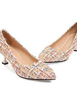 Недорогие -Жен. Обувь Трикотаж Весна / Осень Удобная обувь / Туфли лодочки Обувь на каблуках На конусовидном каблуке Белый / Черный / Миндальный