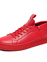 cheap -Men's Cowhide / PU(Polyurethane) Fall Comfort Sneakers White / Black / Red