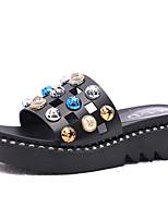 cheap -Women's Shoes PU(Polyurethane) Summer Comfort Slippers & Flip-Flops Creepers Round Toe Rhinestone White / Black