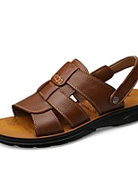 cheap -Men's Nappa Leather Summer Comfort Sandals Black / Yellow / Brown