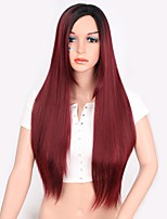 cheap -Synthetic Extentions Straight Layered Haircut Synthetic Hair Women Red Wig Women's Long Capless