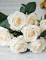 baratos -Flores artificiais 1 Ramo Clássico Casamento / Europeu Rosas Flor de Mesa