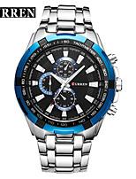 baratos -CURREN Homens Relógio Elegante / Relógio de Pulso Chinês Impermeável / Novo Design / LCD Lega Banda Casual / Fashion Preta / Marrom
