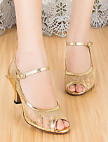 cheap -Women's Latin Shoes Mesh Heel Thick Heel Dance Shoes Gold
