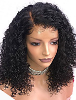 cheap -Remy Human Hair Full Lace Wig Brazilian Hair Water Wave Wig Bob Haircut 130% With Baby Hair / Natural Hairline / African American Wig Natural Women's Mid Length Human Hair Lace Wig