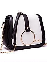 cheap -Women's Bags PU(Polyurethane) Shoulder Bag Zipper Black / Black / White