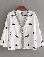 cheap -Women's Basic Cotton Blouse - Floral Embroidered V Neck / Summer