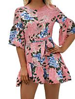 preiswerte -Damen Grundlegend / Street Schick Hülle Kleid - Rückenfrei, Blumen Mini