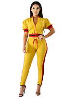 cheap -Women's Basic Set - Color Block, Patchwork Pant