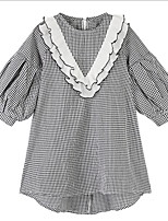 cheap -Kids Girls' Black & White Check Long Sleeve Dress
