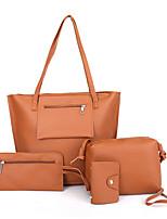 cheap -Women's Bags PU(Polyurethane) Bag Set 4 Pieces Purse Set Zipper / Solid Blushing Pink / Gray / Brown