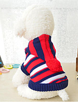 cheap -Dogs / Cats Sweater Dog Clothes Striped / Color Block Stripe Acrylic Fibers Costume For Pets Male / Female Stripes / Casual / Sporty