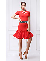 cheap -Latin Dance Dresses Women's Training Milk Fiber Crystals / Rhinestones Short Sleeve Natural Dress / Shorts
