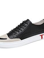Недорогие -Муж. Комфортная обувь Наппа Leather Наступила зима Кеды Черный