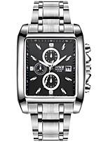 baratos -BOSCK Homens Relógio de Pulso Chinês Calendário / Impermeável / Novo Design Aço Inoxidável Banda Luxo / Fashion Prata