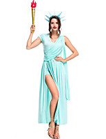 abordables -Diosa Vestidos / Disfrace de Cosplay Halloween / Carnaval Festival / Celebración Disfraces de Halloween Azul Tinta Color sólido Vestidos / Antiguo Egipto