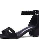 abordables -Femme Chaussures Daim Printemps Confort Chaussures à Talons Talon Bottier Noir