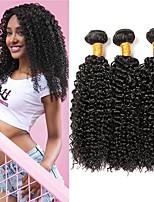 billiga -3 paket Indiskt hår Lockigt Äkta hår Human Hår vävar / Förlängare 8-28 tum Naturlig Hårförlängning av äkta hår Maskingjord Bästa kvalitet / Heta Försäljning / 100% Jungfru Människohår förlängningar