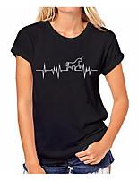 economico -T-shirt Per donna Tinta unita / Fantasia geometrica Cotone