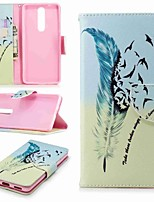cheap -Case For Nokia Nokia 5.1 / Nokia 3.1 Wallet / Card Holder / with Stand Full Body Cases Feathers Hard PU Leather for Nokia 8 / Nokia 6 / Nokia 6 2018