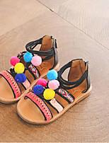 cheap -Girls' Shoes PU(Polyurethane) Spring & Summer Comfort Sandals Pom-pom for Toddler Black / Beige