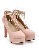 Недорогие -Жен. Обувь Полиуретан Лето Туфли лодочки Обувь на каблуках На толстом каблуке Черный / Бежевый / Розовый