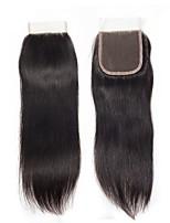 Недорогие -Fulgent  Sun Бразильские волосы 4x4 Закрытие Прямой Бесплатный Часть Швейцарское кружево Натуральные волосы Жен. Лучшее качество / Кружевное закрытие Рождество / Новогодние подарки / Свадьба