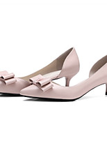 cheap -Women's Shoes Nappa Leather Spring & Summer Basic Pump Heels Kitten Heel Pointed Toe Bowknot Beige / Pink
