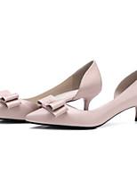 abordables -Femme Chaussures Cuir Nappa Printemps été Escarpin Basique Chaussures à Talons Kitten Heel Bout pointu Noeud Beige / Rose