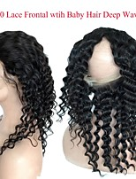 cheap -CLAROLAIR Women's Curly 360 Frontal Indian Hair / Deep Wave Swiss Lace Human Hair Adjustable / Hot Sale / Comfortable Christmas / Christmas Gifts / Wedding