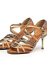 baratos -Mulheres Sapatos de Dança Latina Cetim / Seda Salto Salto Alto Magro Sapatos de Dança Preto / Cinzento / Marron