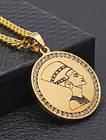 cheap -Men's Cubic Zirconia Cuban Link / Coin Pendant Necklace / Chain Necklace - Stainless Head, Medal Stylish, European, Hip-Hop Gold, Silver 70 cm Necklace 1pc For Street, Club
