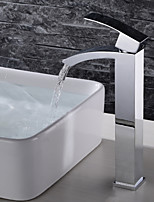 cheap -Bathroom Sink Faucet - Waterfall / Widespread / New Design Chrome Deck Mounted Single Handle One Hole