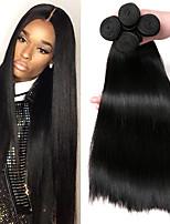 Недорогие -4 Связки Монгольские волосы Прямой 8A Натуральные волосы Подарки Головные уборы Удлинитель 8-28 дюймовый Черный Естественный цвет Ткет человеческих волос Машинное плетение