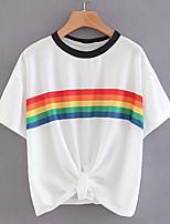 cheap -Women's Basic T-shirt - Rainbow Print
