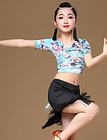 cheap -Latin Dance Outfits Girls' Training / Performance Modal Pattern / Print / Tassel / Bandage Short Sleeve High Skirts / Top
