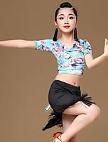 abordables -Baile Latino Accesorios Chica Entrenamiento / Rendimiento Modal Diseño / Estampado / Borla / Ceñido Manga Corta Cintura Alta Faldas / Top