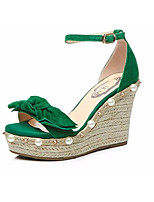 cheap -Women's Shoes Suede Spring & Summer Comfort Heels Creepers Green / Almond