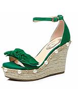 Недорогие -Жен. Обувь Замша Весна лето Удобная обувь Обувь на каблуках Микропоры Зеленый / Миндальный