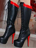 Недорогие -Жен. Обувь Полиуретан Наступила зима Удобная обувь Ботинки На шпильке Черный
