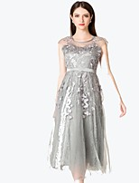 abordables -Mujer Básico / Elegante Vaina Vestido Un Color / Floral Midi