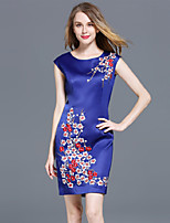 cheap -SHIHUATANG Women's Vintage / Sophisticated Sheath Dress - Floral Embroidered