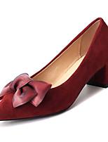 Недорогие -Жен. Обувь Замша / Полиуретан Лето Туфли лодочки Обувь на каблуках На толстом каблуке Заостренный носок Бант Черный / Винный / Миндальный